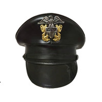 US army hat American officer Visor hats men military Black leather cap wide brim Halloween Christmas gift noble the eagle emblem