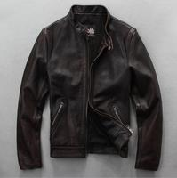 Men's leather jacket Heavy washed vintage old brown red top layer cowhide leather leatherGenuine Cowhide Motorcyclist Jacket
