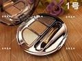 2016 Famoso Korea Maquiagem 3 Cores Brilho Sombra Smoky Maquiagem Dourada Mttallic Diamante Sombra Com Escova Da Sombra de Olho Paleta