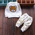 Resorte del bebé niños niñas oso de dibujos animados sistemas de la ropa de deportes de la camiseta + pantalones trajes de bebé ropa de niño ocio chándales
