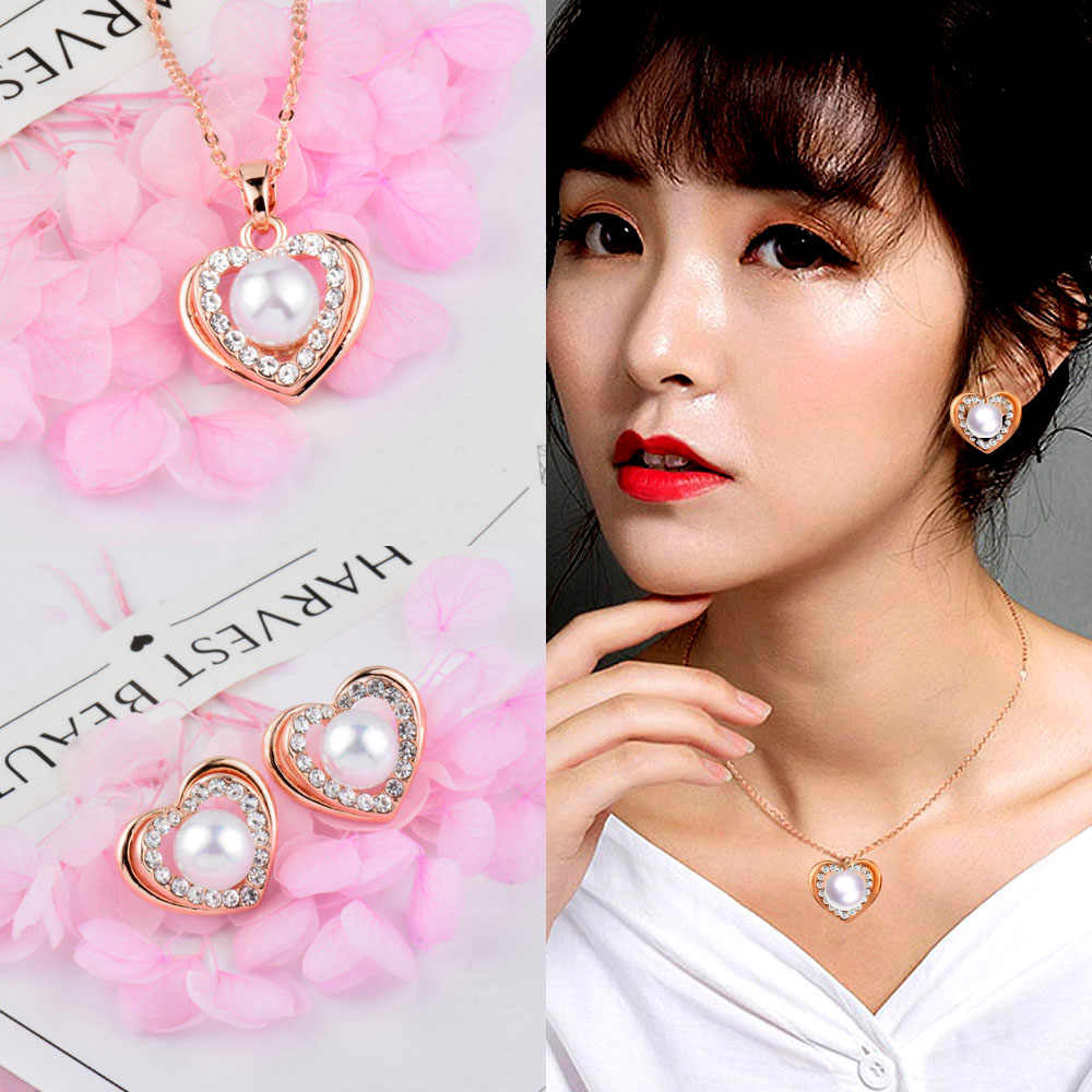 SINLEERY Fashion Heart Jewelry Set Rose Gold Color Simulated Pearl Necklace Earring Set For Women Bridal Party TZ462 SSG
