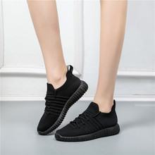 Woman Sneakers Fashion Sport Lace-Up Mesh Flats Ladies Running Shoes Casual Females Comfortable Socks Shoes New 2019 Summer 2019 summer new fashion running shoes flying woven socks women sneakers soft breathable lace up shoes ladies white shoes woman