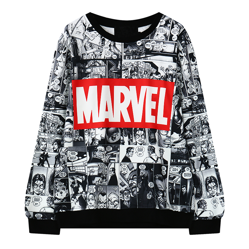 Harajuku Fashion Marvel Comics Pattern Print Women Hoodies Vintage Cotton Loose Hooded Sweatshirt Long Sleeve Women Pullovers