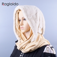 Real Rex Rabbit Fur hood hats Genuine Natural fur female a winter hat Fur Warm Fluffy Hood with fabric lining LQ11276