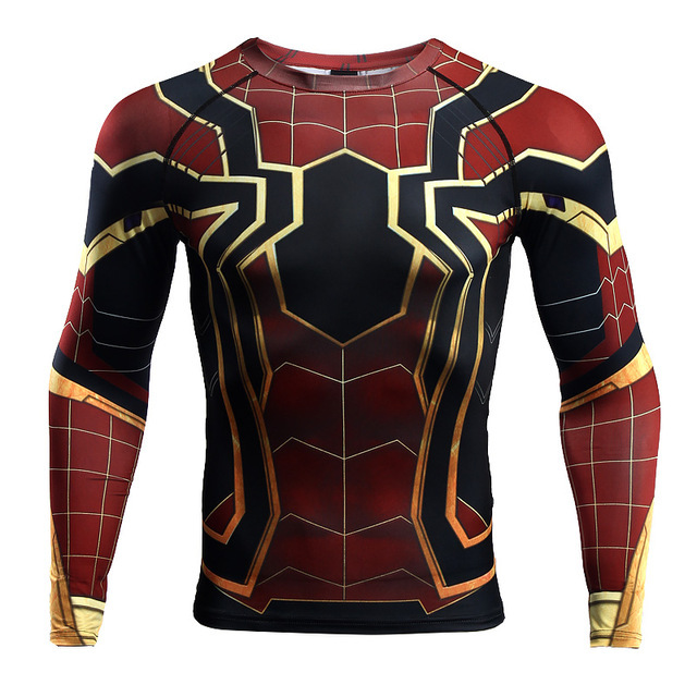 Spiderman Homecoming T shirt shirts Cosplay Costume Avengers: Infinity War Zentai Iron Spider Man Superhero Tights Rshguard