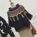 Otoño de las mujeres de las borlas de bohemia étnico retro jerseys de punto suéteres pullover corta top tire femme vetement sueter mujer jersey