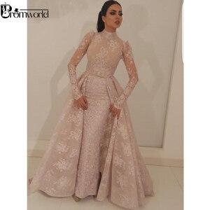 Image 4 - Muzułmańska suknia wieczorowa 2020 nowa syrenka wysoki kołnierz Illusion długie rękawy koronki dubaj saudyjskoarabski długa suknia wieczorowa robe de soiree