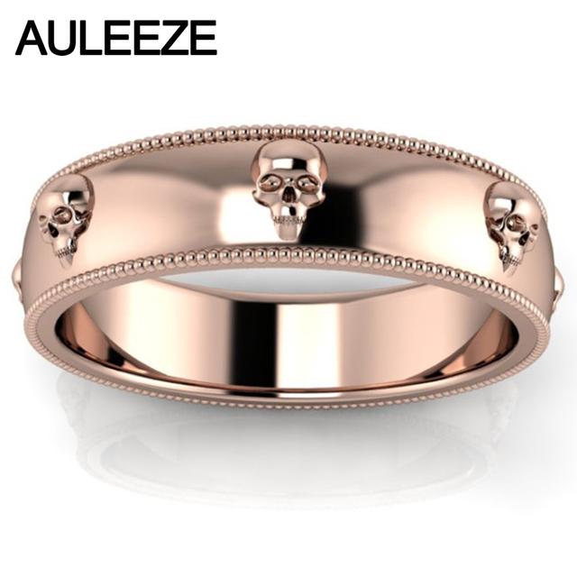 Mens Rose Gold Wedding Rings | Halloween Unique Skull Series Mens Ring Pure Gold Solid 10k Rose