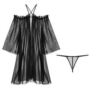 Image 5 - Sexy Lace Suspender Solto Sleepwear Baixo Peito Princesa Longo da Mulher Dormindo Lingerie Low cut Correias Camisola Camisola