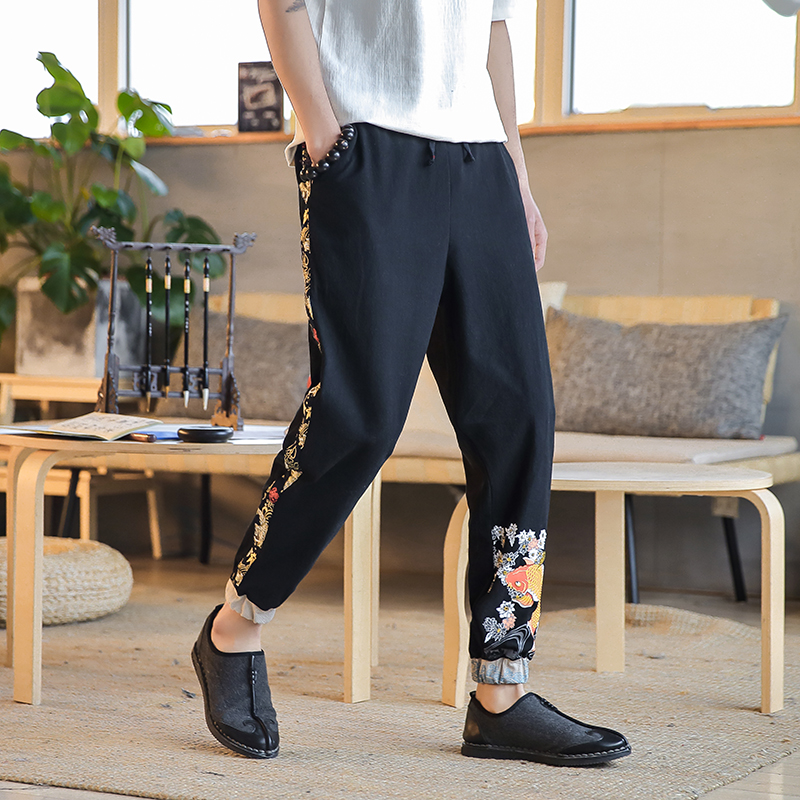 Chinese Style Retro Men Pants Brand New Loose Plus Size Harem Pant Casual Embroidery Mens Joggers Autumn Hot Sale Trouser Men