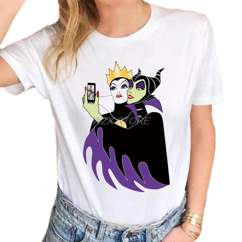 79c74220b New Fashion VOGUE Princess Witch Queen Mermaid Printed T-shirts Women  Summer Short Sleeve Casual White Tops T shirts girl