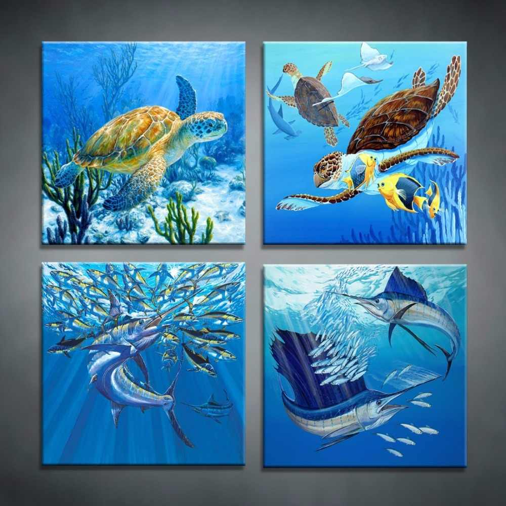 Canvas Pictures Wall Art Framework 4 Pieces Blue Deep Sea Turtle Paintings HD Prints Marine Animal Poster Living Room Home Decor