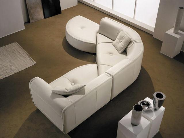 Unique Design Semi Circle Chaise Corner Leather Sofa.