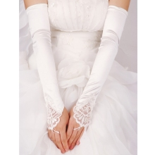 Женские длинные перчатки без пальцев Вышивка Кружева отделка бисером блестки свадебные аксессуары