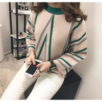 Sweater Women New Arrive 2016 High Quality Thicken Warm Women Knitted Sweater Geometric Autumn Winter Pullovers
