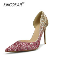 KNCOKAR 2018 Women Pumps Extrem Sexy High Heels Women Shoes Thin Heels Female Shoes Wedding Shoes