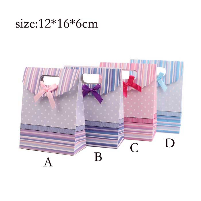 Paper Bags Recyclable Gift Jewelry Food Bread Candy Packaging Shopping Party Bags For Boutique 12pcs