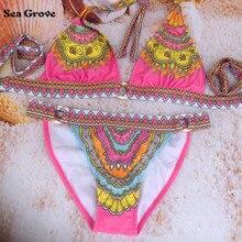 2016 Women Bikini swimwear many color design print flower Sexy Swimsuit women's Swimwear summer bikinis set beachwear
