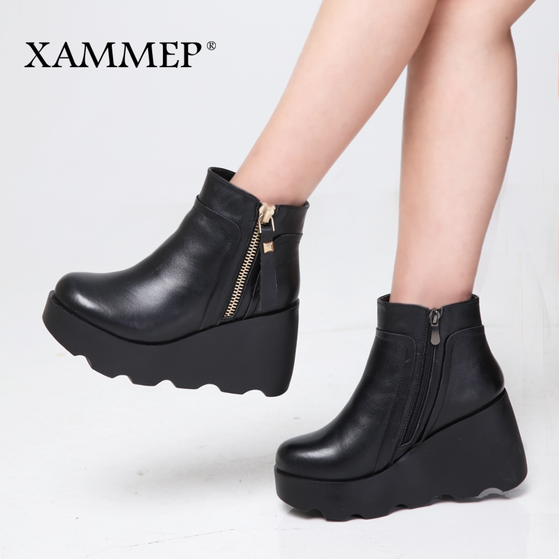Xammep Women Winter Shoes Genuine Leather Natural Wool Boots Brand Women Shoes High Quality Ankle Boots With Platform High Heel-in Ankle Boots from Shoes    3