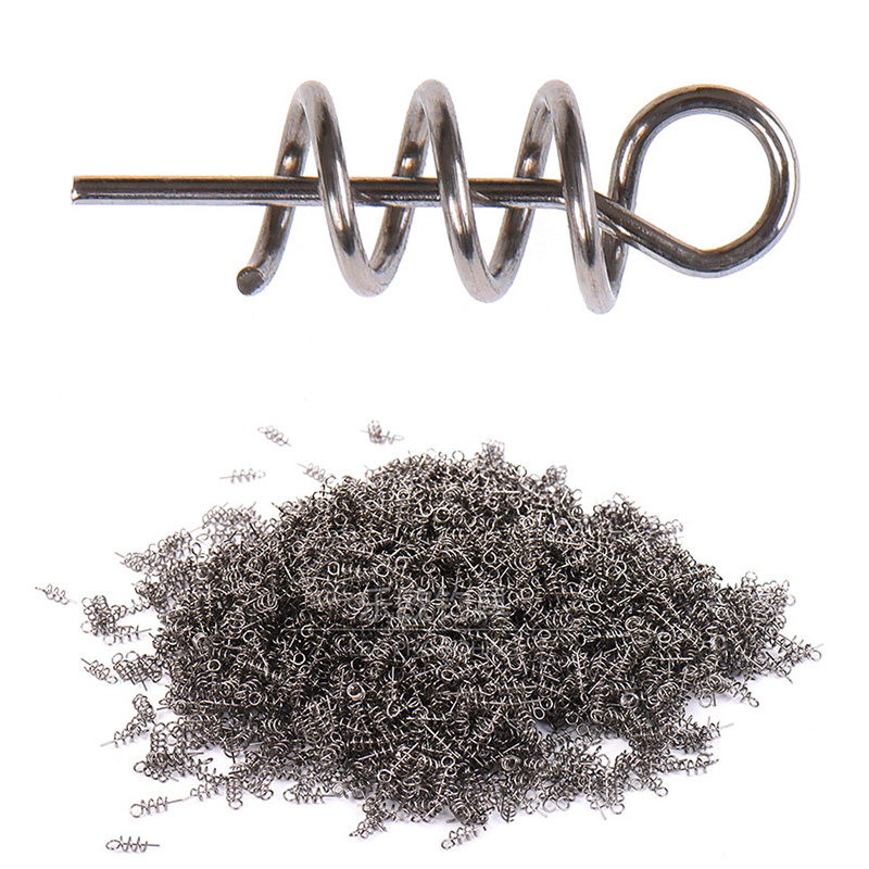 50PCS Or 100PCS/lot Fishing Hook Soft Bait Spring Centering Pins Fixed Latch Needle Spring Twist Crank Lock For Soft Lure Latch