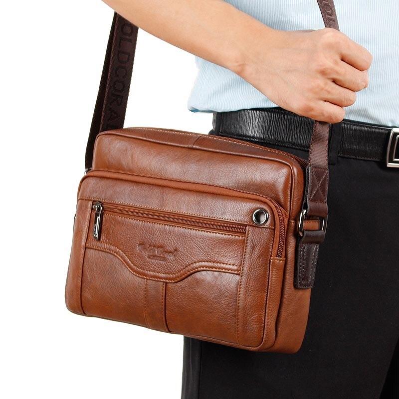6c72f773211b3 الذهب المرجانية جلد طبيعي الرجال حقيبة الكتف أكياس حقيبة سفر الأعمال الذكور  Crossbody أكياس رسول أكياس حقيبة يد 2018