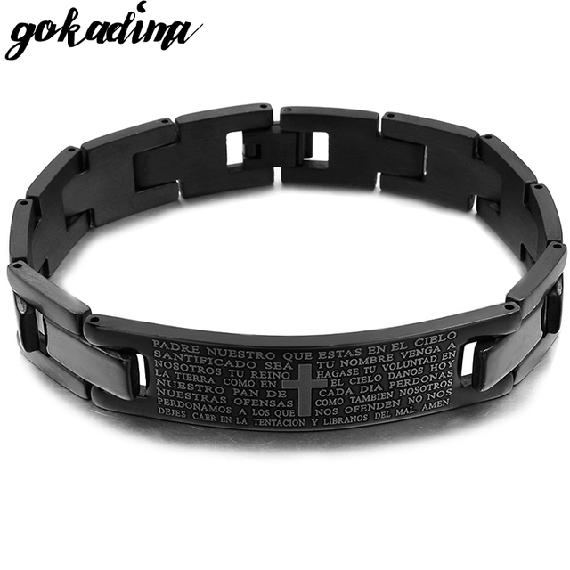 539ce97dad6b Gokadima Cross Bible Scripture Men Bracelet Stainless Steel Bracelet Black  or Silver color