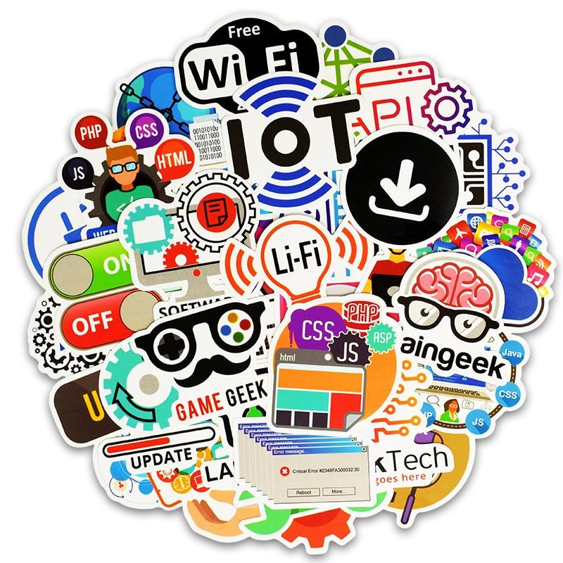 TD ZW 50Pcs Programming Language Stickers Java JS Php Html Cloud Docker Bitcoin Internet Programming APP Logo Laptop Stickers