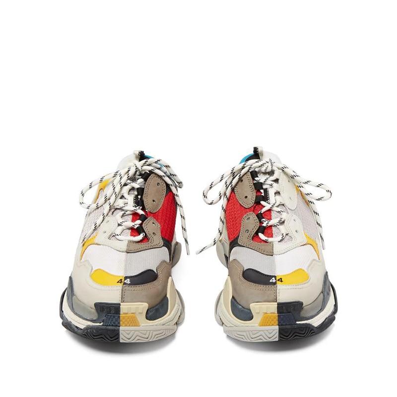 Flache Frau Dicken Turnschuhe Mischfarben rot Retro Liebhaber Qualität Schuhe Boden Frauen Mode Für Schwarzes Top Triple Marke Wohnungen qY0xAn6zx