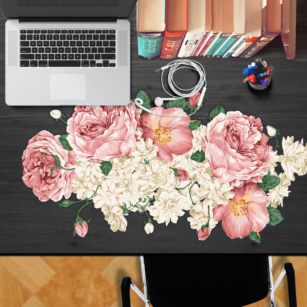 yazi Tablecloth Table Sticker Mouse Pad Waterproof Dustproof Oilproof Anti-Slip Pink Rose Flower Laptop PC Mice Pad 47x90cm