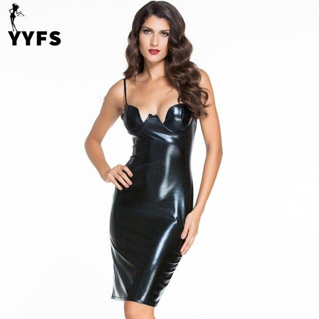 616195b71d39f Sexy Black Faux Leather Dress Bodycon Sheath Strap Cami Club Wear Women  Dresses Slim Low-Cut Vestidos Off shoulder High Waist