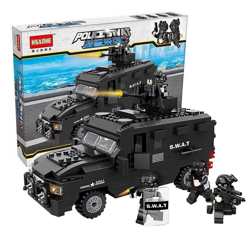 6509 HSANHE City Police SWAT Explosion-proof Car Model Building Blocks Enlighten DIY Figure Toys For Children Compatible Legoe 1700 sluban city police speed ship patrol boat model building blocks enlighten action figure toys for children compatible legoe