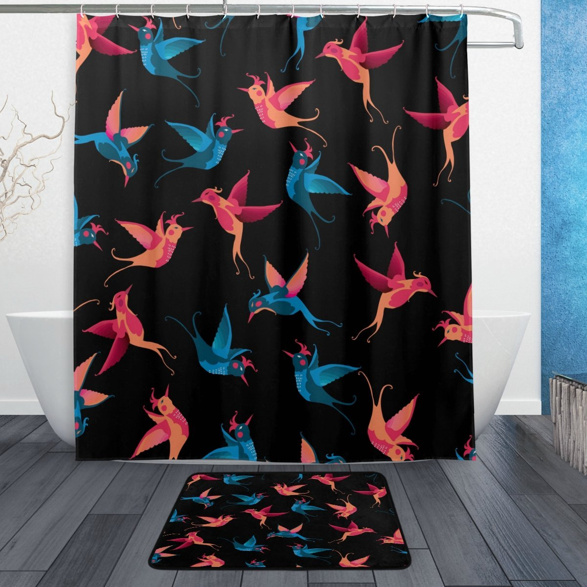 Colorful Bird Waterproof Polyester Fabric Shower Curtain with Hooks Doormat Bath Floor Mat Bathroom Home Decor