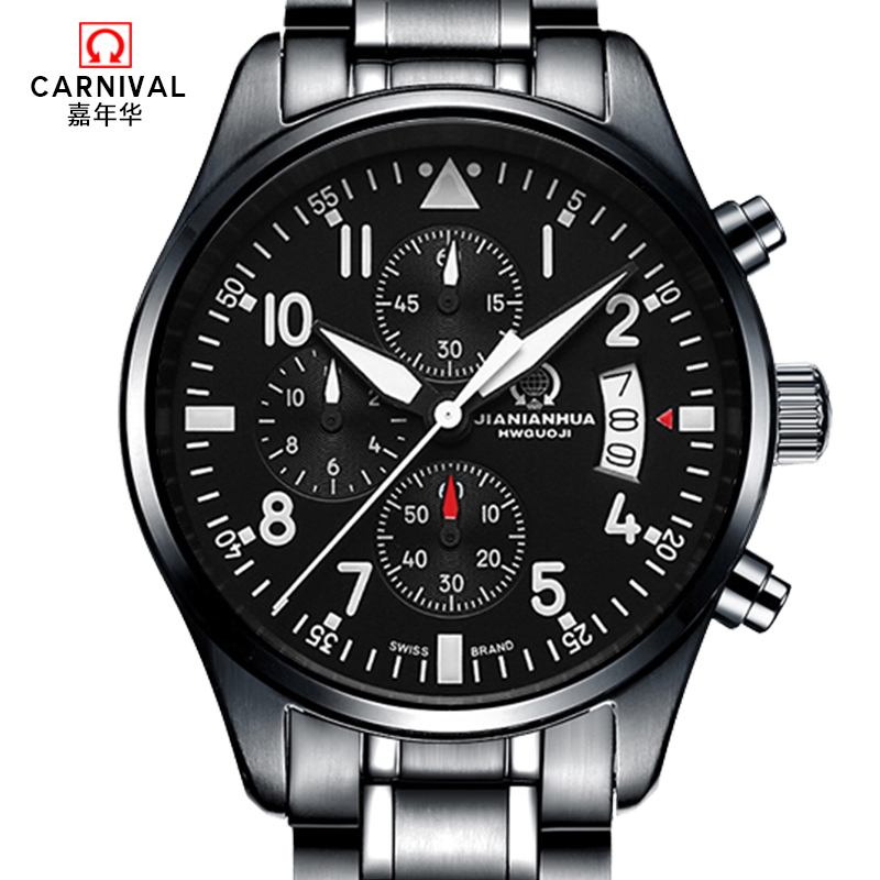 Carnival watches Mens Sapphire glass Men Chronograph Stainless Steel WristWatches Sub Dials with 6 hands Luminous Quartz watch seiko watch premier series sapphire chronograph quartz men s watch snde23p1