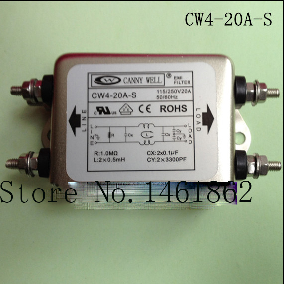 CW4-20A-S AC 250V EMI power filter power supply filter purifier Power staticizer Electrical Equipment 110-250V20A  cw15e 06a t emi power supply filter 110 250v 6a ac electrical equipment adapters power supplies