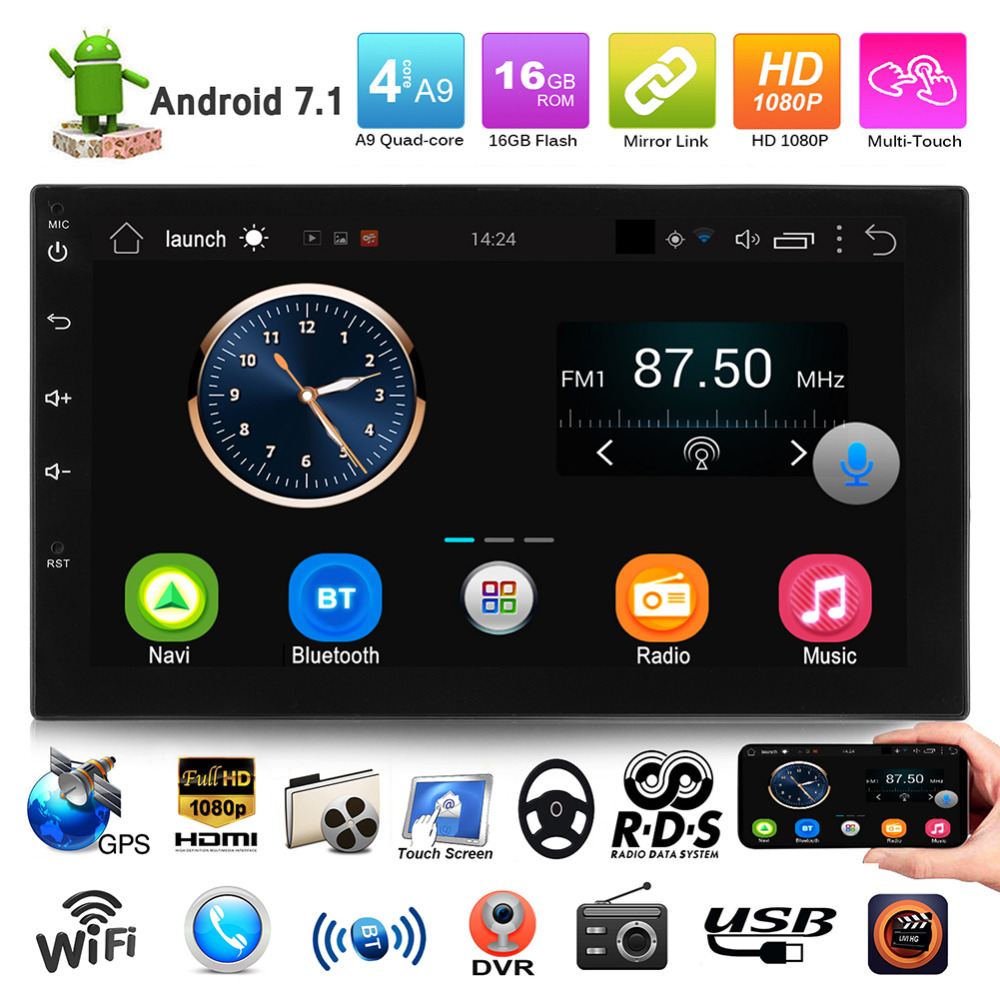 VODOOL 7in Touch Screen Car MP5 HD Player Support DVR Bluetooth Android Auto Stereo Audio Players FM Radio GPS Navigator 7 touch screen mirrorlink bluetooth android car stereo mp5 player gps navigator auto 2 din fm radio autoradio support dvr
