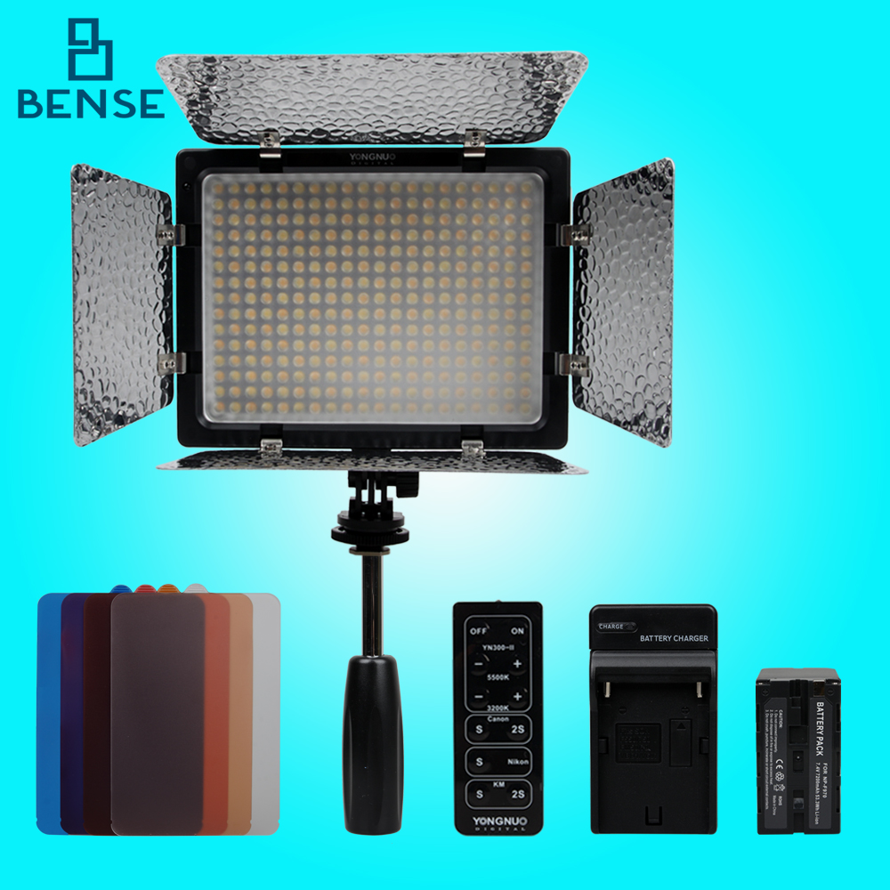 Prix pour Yongnuo YN-300 II 3200-5500 k LED Caméra Vidéo Lumière + 7200 mAh NP-F970 Batterie kit pour canon nikon
