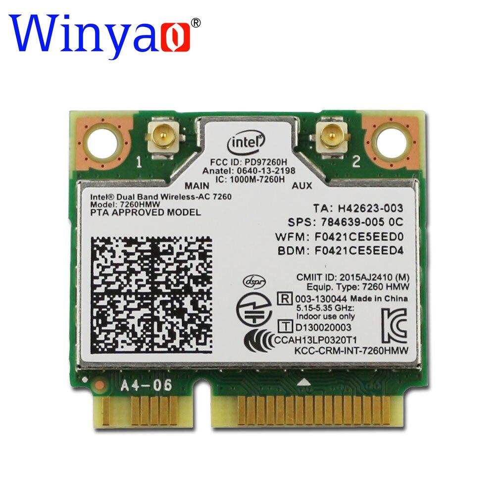 New Intel Dual Band Wireless AC 7260 ac7260 7260HMW 7260AC 802.11ac MINI PCI-E 2.4G/5G Dual Band 2x2 WiFi Card + Bluetooth 4.0