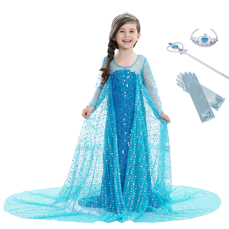 YOFEEL Girls Princess Blue Elsa Cinderella Sequined Deluxe Cosplay Costume Fancy Party Dress Role-play Carnival Kids Clothing