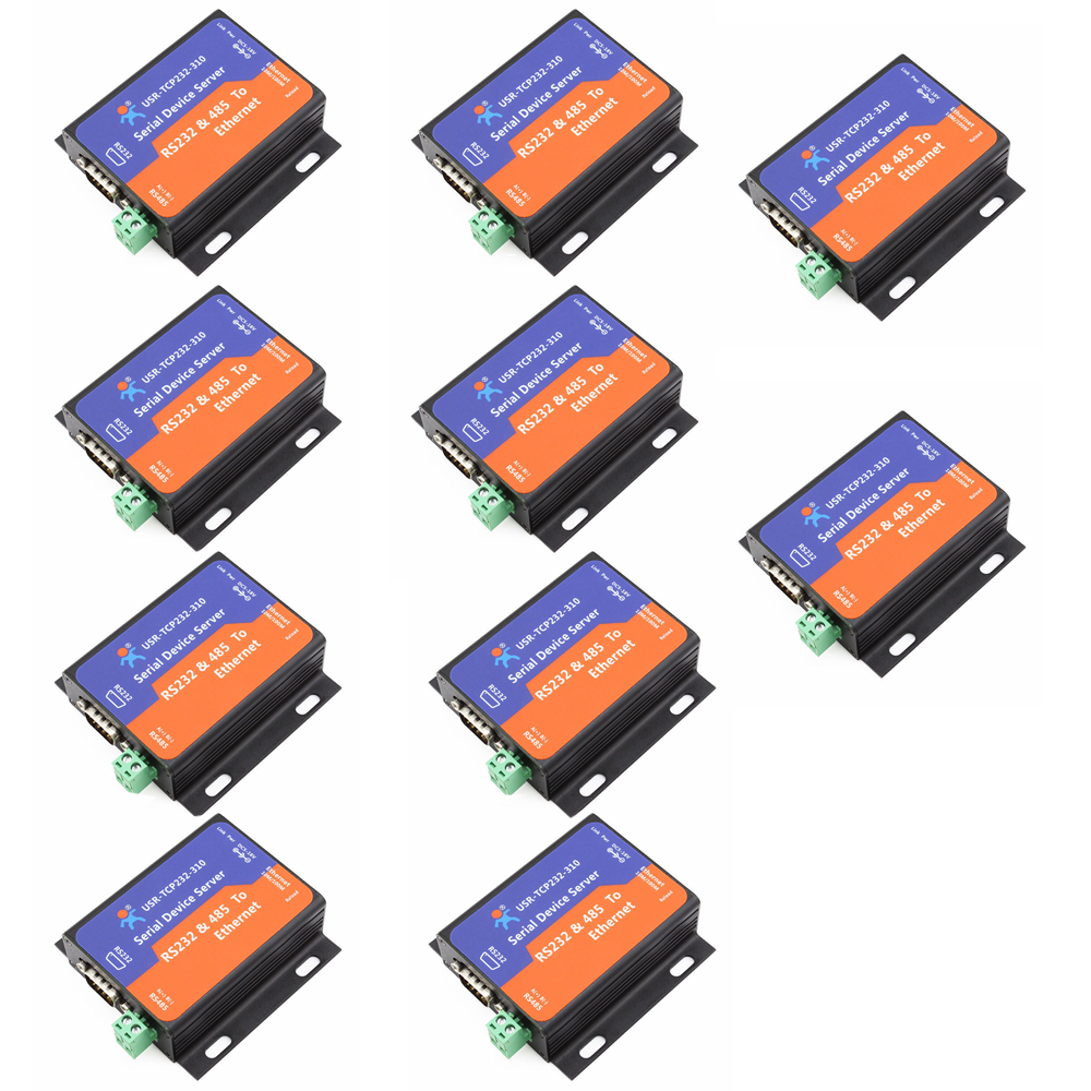 F16370-10 10PCS USR-TCP232-310 Serial RS232/RS485 to Ethernet TCP/IP Server with DHCP and Built-in Webpage
