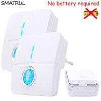 SMATRUL Self Powered Wireless DoorBell Waterproof No Battery Smart Door Bell Chime EU Plug 1 2