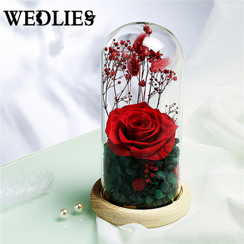 Big Size Glass Cover Fresh Preserved Red Rose Flower Immortal Colorful Roses For Girl Valentines Day Wedding Gift Spare No Cost At Any Cost Home & Garden