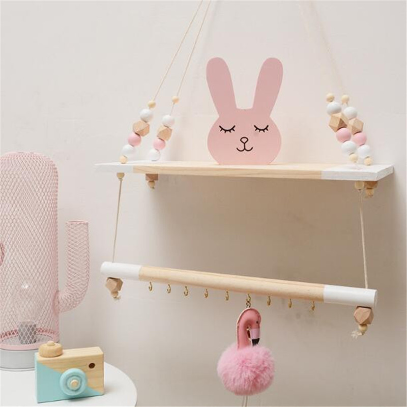Us 15 67 44 Off Nordic Style Handcrafted Shelf Double Hanging Bead Wall Nursery Organization Swing Home Decor Kids Room Decora In