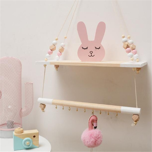Nordic Style Handcrafted Shelf Double Hanging Bead Wall Nursery Organization Swing Home Decor Kids