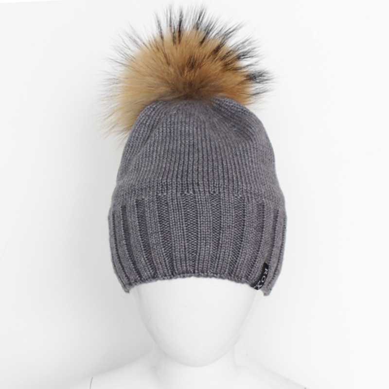 3-7 Years Cotton/Wool Blend Kids Winter Beanie Hat with Detachable Raccoon Fur Pompom 6 cColors for Boys new star spring cotton baby hat for 6 months 2 years with fluffy raccoon fox fur pom poms touca kids caps for boys and girls