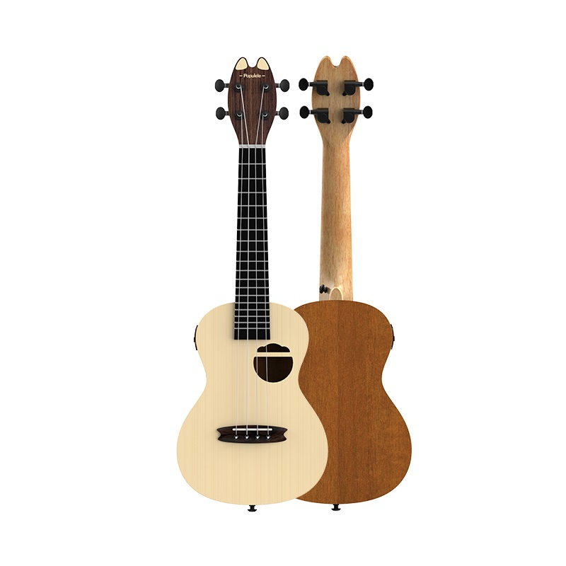 Populele Q1 23 Inch App-Controlled Smart Ukulele Spruce Acoustic Electric Guitar MINI 4 String Guitarra pattern thicken waterproof soprano concert tenor ukulele bag case backpack 21 23 24 26 inch ukelele accessories guitar parts gig