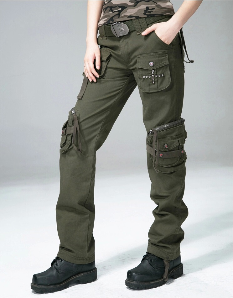 41c112e0d80 Women Casual Cargo Pants Women s Straight Pockets Military Trousers Size 27  31-in Pants   Capris from Women s Clothing on Aliexpress.com
