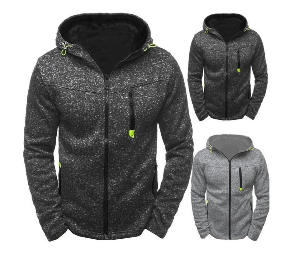 2018 new men's jacquard fleece cardigan Hooded Jacket Body repair zipper Long sleeves hoodies streetwear