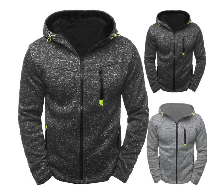 2018 new men's jacquard fleece cardigan Hooded Jacket Body repair zipper Long sleeves hoodies streetwear