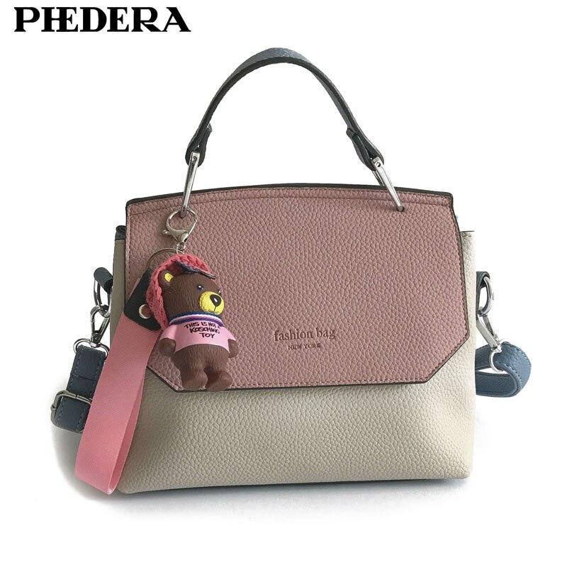 цена PHEDERA Brand Fashion Female Totes Bag Bear Decoration Women Handbag PU Leather Pink/Orange Women Messenger Bags 2017 Winter