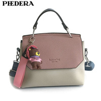 PHEDERA Brand Fashion Female Totes Bag Bear Decoration Women Handbag PU Leather Pink/Orange Women Messenger Bags 2017 Winter